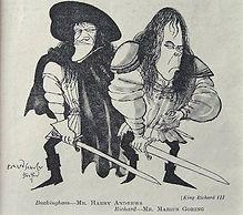 Marius Goring & Harry Andrews in caricature in Richard III 1953