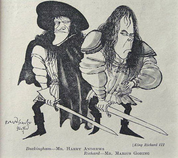 Harry Andrews and Marius Goring caricature in 'Richard III' by theatre column illustrator Ronald Searle for Punch Magazine 18 April 1953