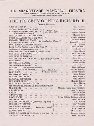 Shakespeare Memorial Theatre 1953 Programme for King Richard III