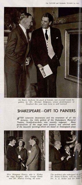 Marius Goring at the reopening of the Shakespeare Memorial Theatre Gallery, Stratford-on-Avon 1953. The Tatler and Bystander 14 October 1953
