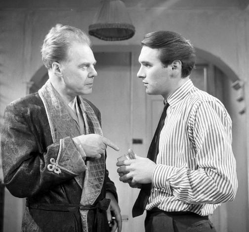 Marius Goring as Mervyn Pemberton and Dinsdale Landen as Daniel Hunt in 'Room for Justice' by Peter Sasdy. Broadcast 30 December 1962