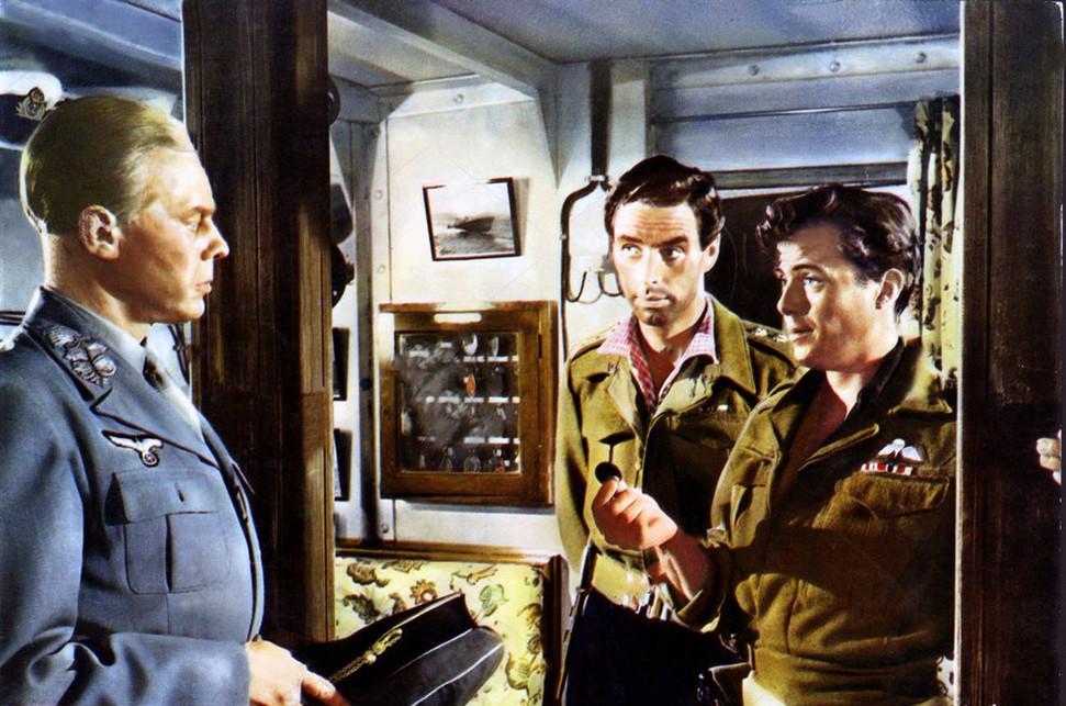 Marius Goring as Major General Kreipe, David Oxley as Captain Bill Stanley Moss and Dirk Bogarde as Major Patrick Leigh Fermor