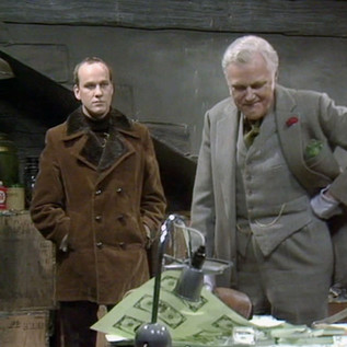 Sean Arnold as Bert and Marius Goring as Rex in Wilde Alliance Season 1 Episode 4  'Things That Go Bump'. Director: Marc Miller. Writer: Philip Broadley. Broadcast 7 February 1978