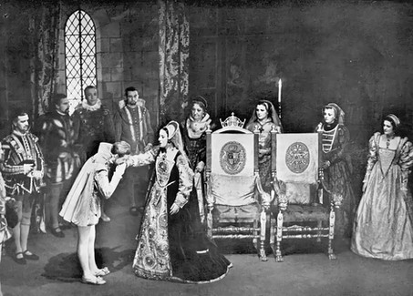 Marius Goring as Philip of Spain and Flora Robson as Mary I in 'Mary Tudor' at the Sadler's Wells Theatre, London 1935-1936