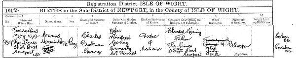 Marius Goring Birth Register Entry 1912.