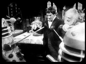 Patrivck Troughton as The Doctor and Marius Goring as Theodore Maxtible in Doctor Who Season 4 Episode 2 'The Evil of the Daleks'. Directed by Derek Martinus and written by David Whitaker and Sydney Newman. Broadcast 27 May 1967