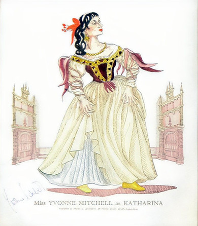 Yvonne Mitchell as Katharina in 'The Taming of the Shrew' 1953 Costume Drawing