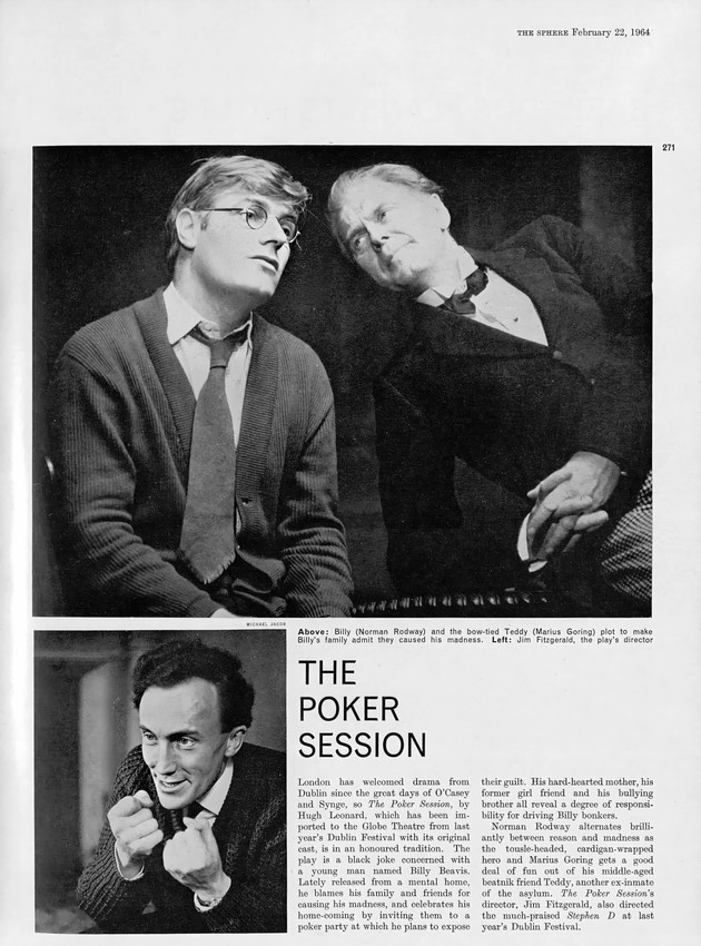 Norman Rodway and Marius in 'The Poker Session' at the Globe Theatre, London 1964.