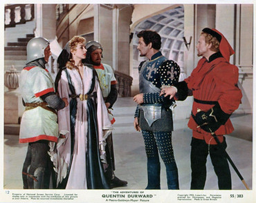 Kay Kendall as Isabelle, Countess of Marcroy, Robert Taylor as Quentin Durward and Marius Goring as Count Philip de Creville