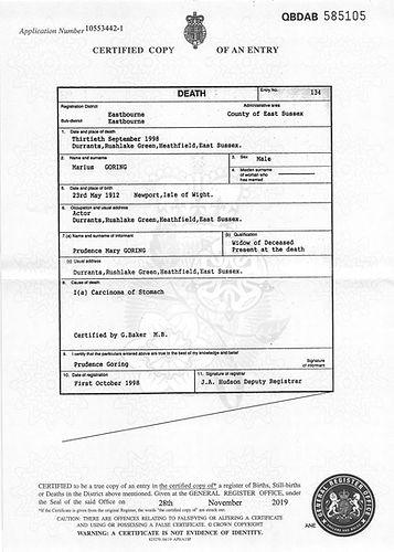 Marius Goring Death Certificate 30 September 1998