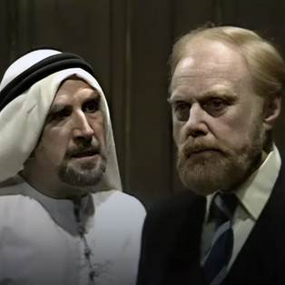 Edgar Wreford as Prince Rashid and Marius Goring as Professor John Hardy in Season 4 Episode 2 'Blood Line'. Directed by David Sullivan Proudfoot and written by N.J. Crisp, Gerard Glaister and Roger Parkes. An Arab ruler suddenly dies in London and Hardy is caught up in a situation of political intrigue. Broadcast 1 October 1976