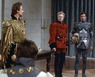 Alec Clunes as the Duke of Burgundy, Marius Goring as Count Philip de Creville and Robert Taylor as Quentin Durward