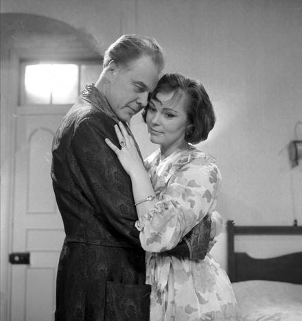 Marius Goring as Mervyn and Zena Walker as Belinda in 'Room for Justice' by Peter Sasdy. Broadcast 30 December 1962