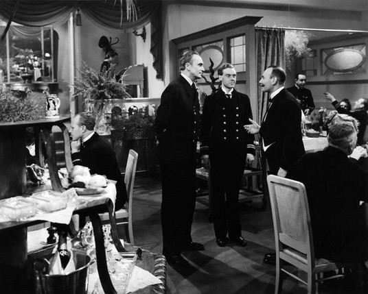 Conrad Veidt & Marius Goring in The Spy in Black 1939: arriving for what they expect will be a slap-up meal after 16 days at sea eating only tinned sardines, they are doomed to disappointment