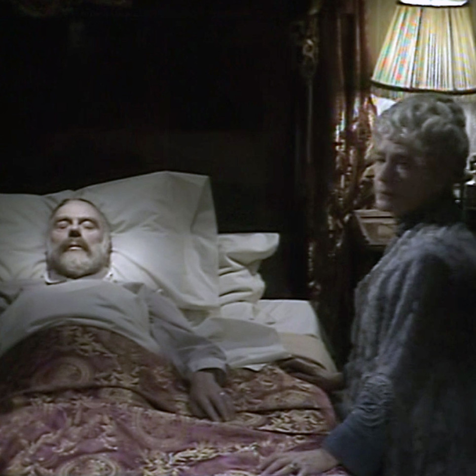Marius Goring as King George V and Peggy Ashcroft as Queen Mary in Edward and Mrs Simpson Part 2 'Venus at the Prow'. Director: Waris Hussein. Writers: Frances Donaldson, Simon Raven. Broadcast 15 November 1978