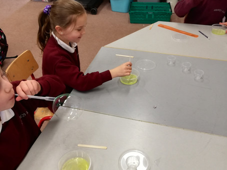1st and 2nd class:            Science week: Investigating Bubbles