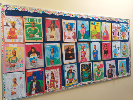 Mona Lisa gets a makeover in 5th & 6th class!