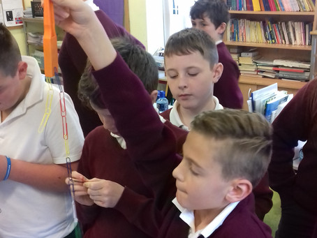 5th & 6th class investigated the strength of different magnets during Science Week.