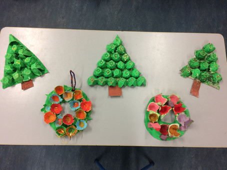 3rd & 4th constructed these Christmas trees & Wreaths using egg cartons, PVA glue, cardboard