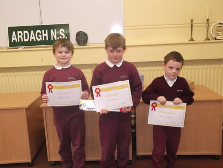 Junior and Senor Infants take on 2d shape and Mathematicians of the week get their awards.