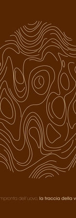 CUCCO  Il manifesto mette in risalto il concetto chiave del nostro progetto: l'uovo come simbolo di vita. La sua forma è definita da una serie di tracce che ricreano le venature della radica, messe in evidenza dal contrasto di colore con lo sfondo. L'uovo diventa impronta, rappresenta l'intervento dell'uomo sulla natura.  Niccolò Palanti - Alessandro Hoffmann
