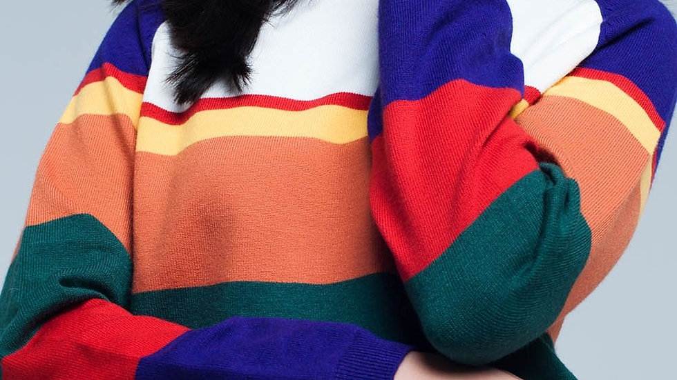 Red Multi Colored Striped Sweater