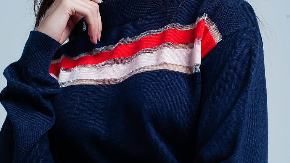 Navy Fine Knitted Sweater With Transparent Stripe