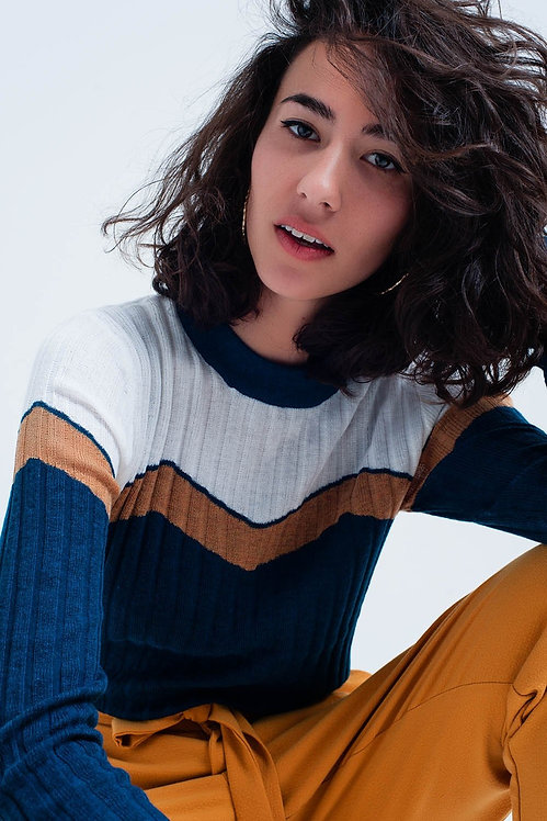 Turquoise Sweater With  v Shaped Color Block
