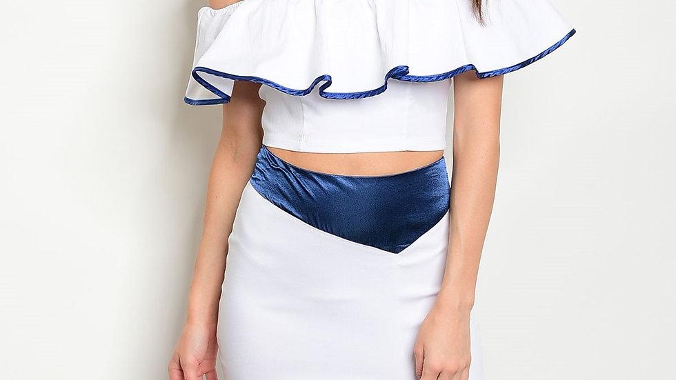 Womens White Navy Ruffle Top & Skirt Set
