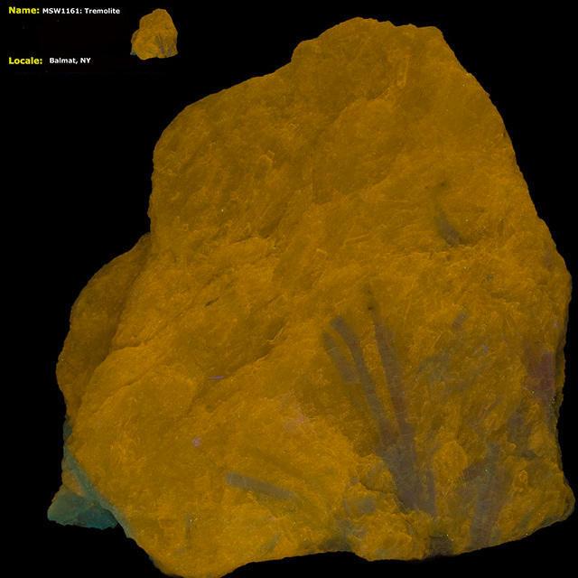 Tremolite from Balmat, NY under shortwave UV