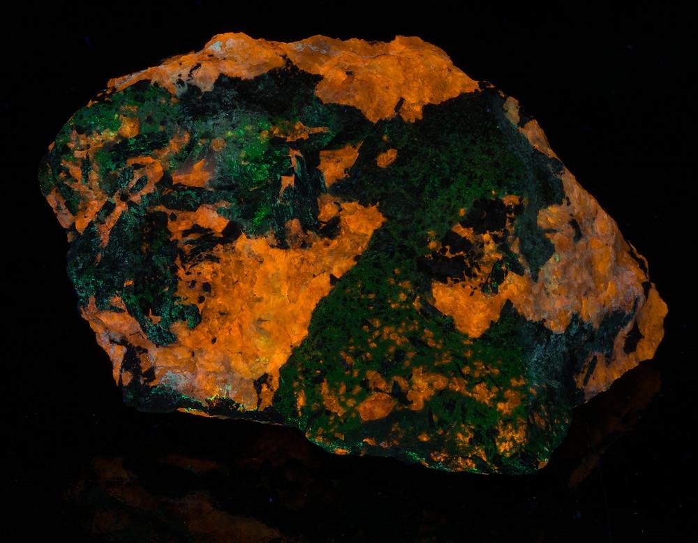 Green Sodalite under shortwave UV