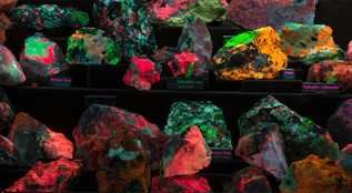 Examples of some excellent Fluorescent Mineral Displays built by our members