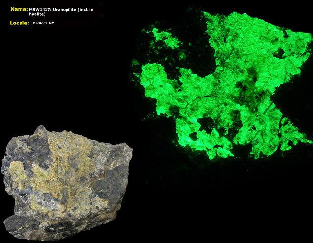 Uranopilite (in Hyalite) - Bedford, NY