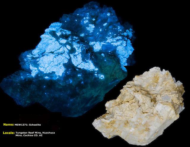 Scheelite - Tungsten Reef Mine, Huachuca Mts. AZ