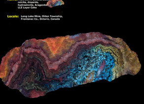 """Chondrodite, Calcite, Diopside, Aragonite - LLZ """"Layer Cake"""" from the Long Lake Zinc Mine,"""