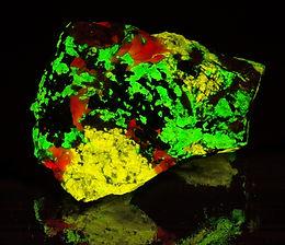 Classic Fluorescent Mineral - Esperite, Willemite, Calcite, shortwave UV