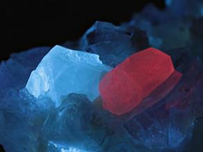 Scheelite and Calcite (Crystals) on Fluorite - China