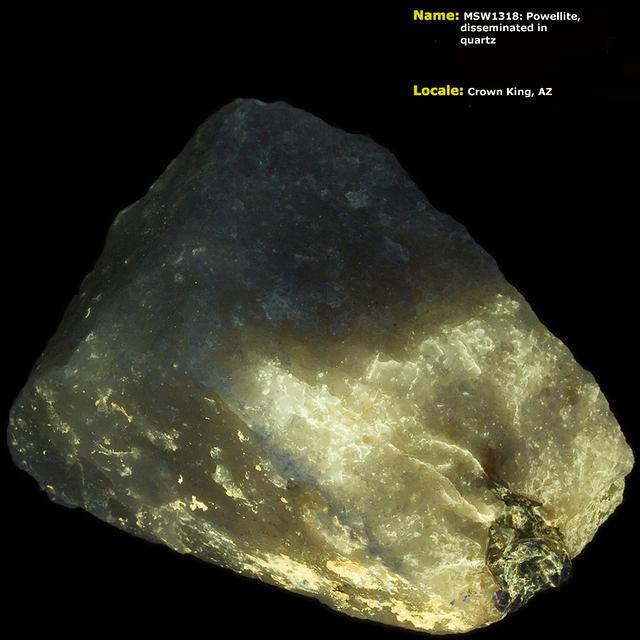 Powellite Disseminated in Quartz - Crown King, AZ