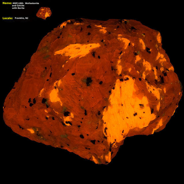 Wollastonite and Calcite, w/ Barite - Franklin, NJ