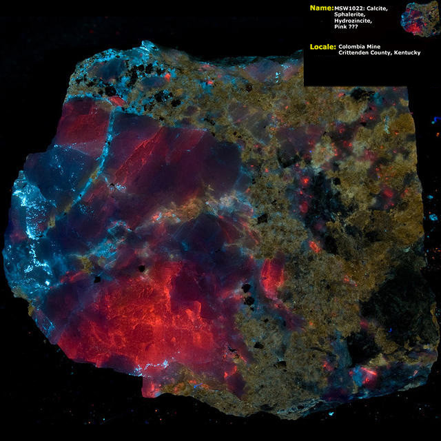 Calcite, Sphalerite, Hydrozincite - Columbia Mine, Marion KY