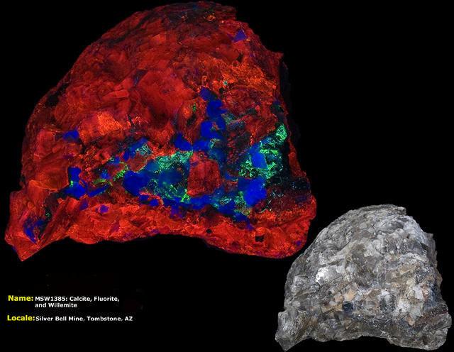 Calcite, Willemite, and Fluorite - Silver Bell Mine, Tombstone, Arizona