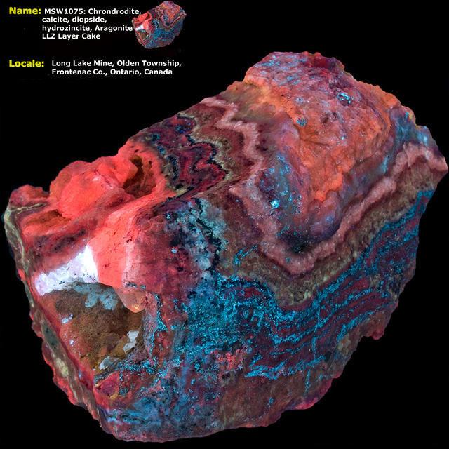 Chondrodite, Calcite, Diopside, Hydrozincite, Aragonite - Long Lake Zinc Mine - Ontario, Canada