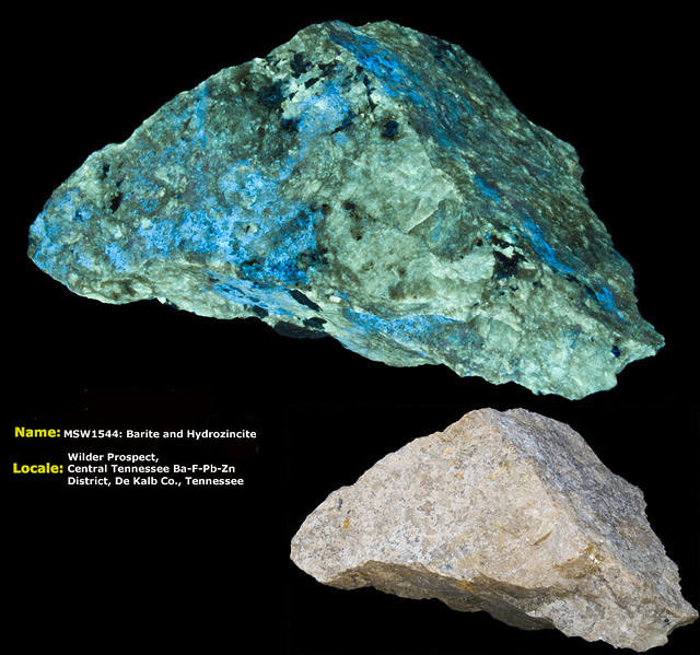 Barite and Hydrozincite - Wilder's Prospect, Tennessee