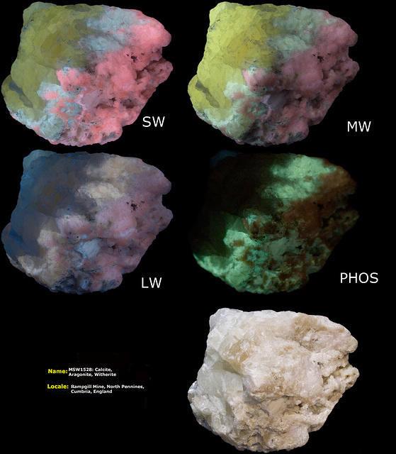 Witherite, Calcite, Aragonite - Rampgill Mine, Cumbria, England