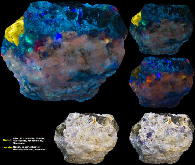 Sodalite (Hackmanite), Fluorite, Fluorapatite, Johachidolite, Phlogopite - Mogok, Myanmar
