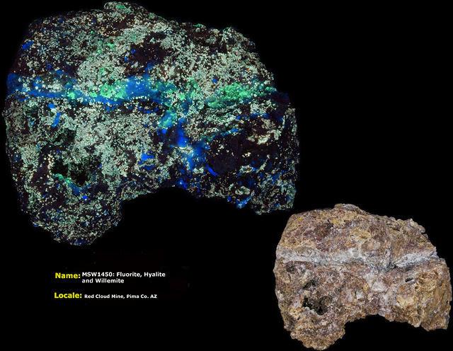 Fluorite, Hyalite, Willemite - Red Cloud Mine, Pima Co. Arizona