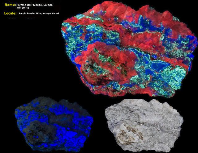 Fluorite, Calcite, Willemite - Purple Passion Mine, Arizona
