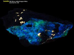 Scheelite, Powellite, Hyalite Opal under Midwave - AZ