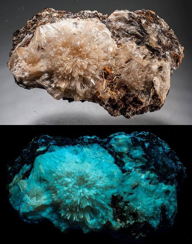 Aragonite Crystals - Sterling Hill, NJ - Shortwave