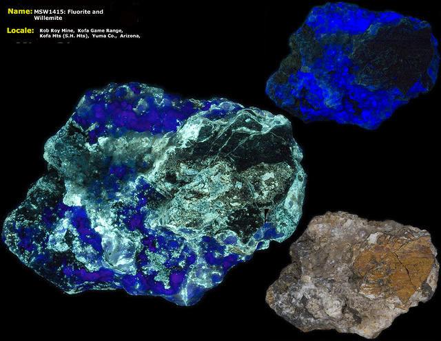 Fluorite and Willemite - Rob Roy Mine, Yuma Co. Arizona
